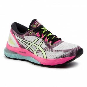Detalles acerca de Para Mujer Asics Gel-Nimbus 21 Sp Running Shoes White  Pink vida nocturna negro- mostrar título original