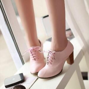 Womens-Oxfords-Chunky-Heel-Retro-Mesh-PU-Leather-Shoes-Pump-Lace-Up-Casual-Shoes