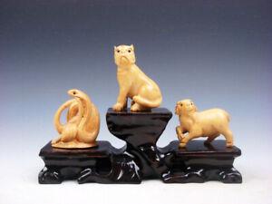 3-Japones-Boj-Tallado-a-Mano-Serpiente-Cachorro-Cabra-Adorno-Con-Madera-Pie