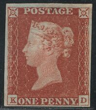 "1845 Penny Red Sp BS27 Plate 54 (KD) V/L/Mounted Mint ""E"" Flaw"