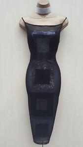 Size 12 UK Karen Millen Vintage Black Sequin Mesh Overlay Bodycon Cocktail Dress