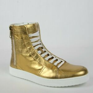 4dddf7066 New Gucci Men's Gold Leather High-top Sneaker Limited Edition 376193 ...