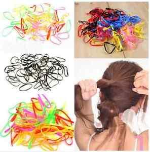 500pcs Black Rubber Hairband Rope Ponytail Holder Elastic Hair Band Ties
