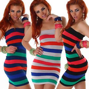 Damen Bandeau Mini Kleid Streifen gestreift Bunt Minikleid ...