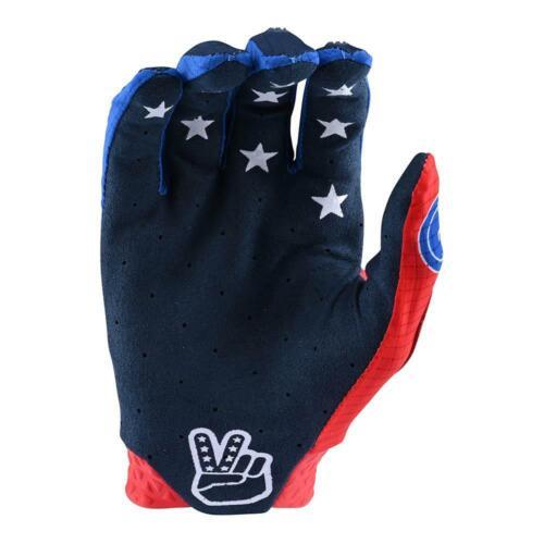 BLUE MD Troy Lee Designs Full Finger AIR GLOVE; STARS /& STRIPES RED