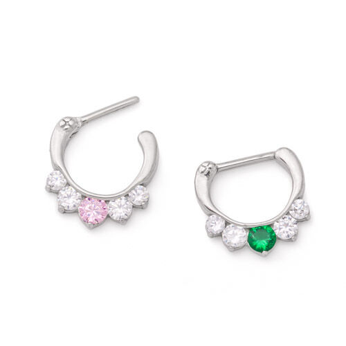 16g Steel Septum Clicker with Crystals and Colored Jewel — Price Per 1