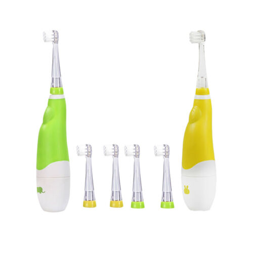 2 Pcs Children Kids Electric Toothbrush Each with 6 Brush Heads Replaced New