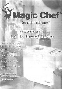 magic chef bread machine manual cbm250 2 cbm310 es1850 ts238a vbm200 rh ebay com Magic Chef Bread Maker Manual Magic Chef Grill