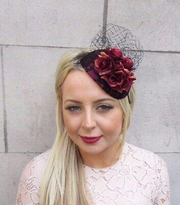 Black Burgundy Deep Red Rose Flower Fascinator Hair Headband Races ... ce14674daaa