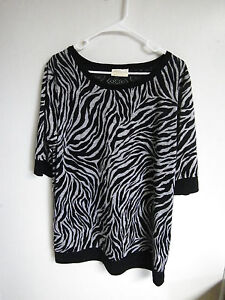 BOBBIE-BROOKS-Womens-PLUS-SIZE-2X-POLYESTER-Blouse-Top-ANIMAL-PRINT-LACE-BACK