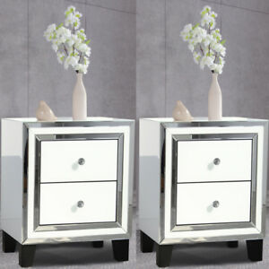 Pair Bedroom Dressing Bedside Table 2 Drawer Mirrored