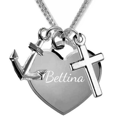 Kette Glaube Liebe Hoffnung Anhänger mit Gravur-925er Sterling Silber Inkl