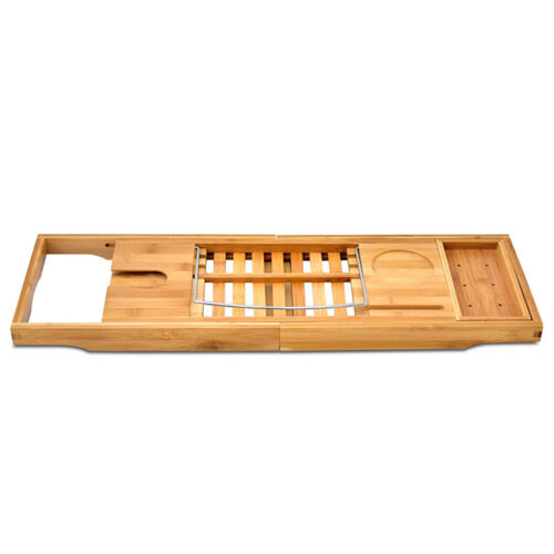 Adjustable Durable Convenient Wooden Bamboo Bathtub Bridge Tub Caddy Tray Rack