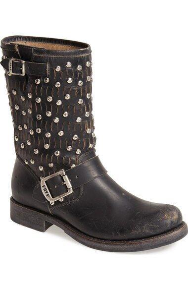 Frye Women's Jenna Cut Stud Short Black Leather Moto Boots size 6 ns9/27