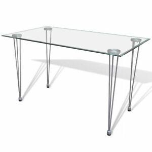 Tavolo Cucina Trasparente.Dettagli Su Vidaxl Tavolo Da Pranzo Soggiorno Sala Cucina Piano Superiore Vetro Trasparente