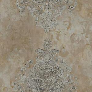 Wallpaper-Designer-Taupe-and-Gray-Damask-on-Gold-Taupe-Faux-Finish-Plaster-Look