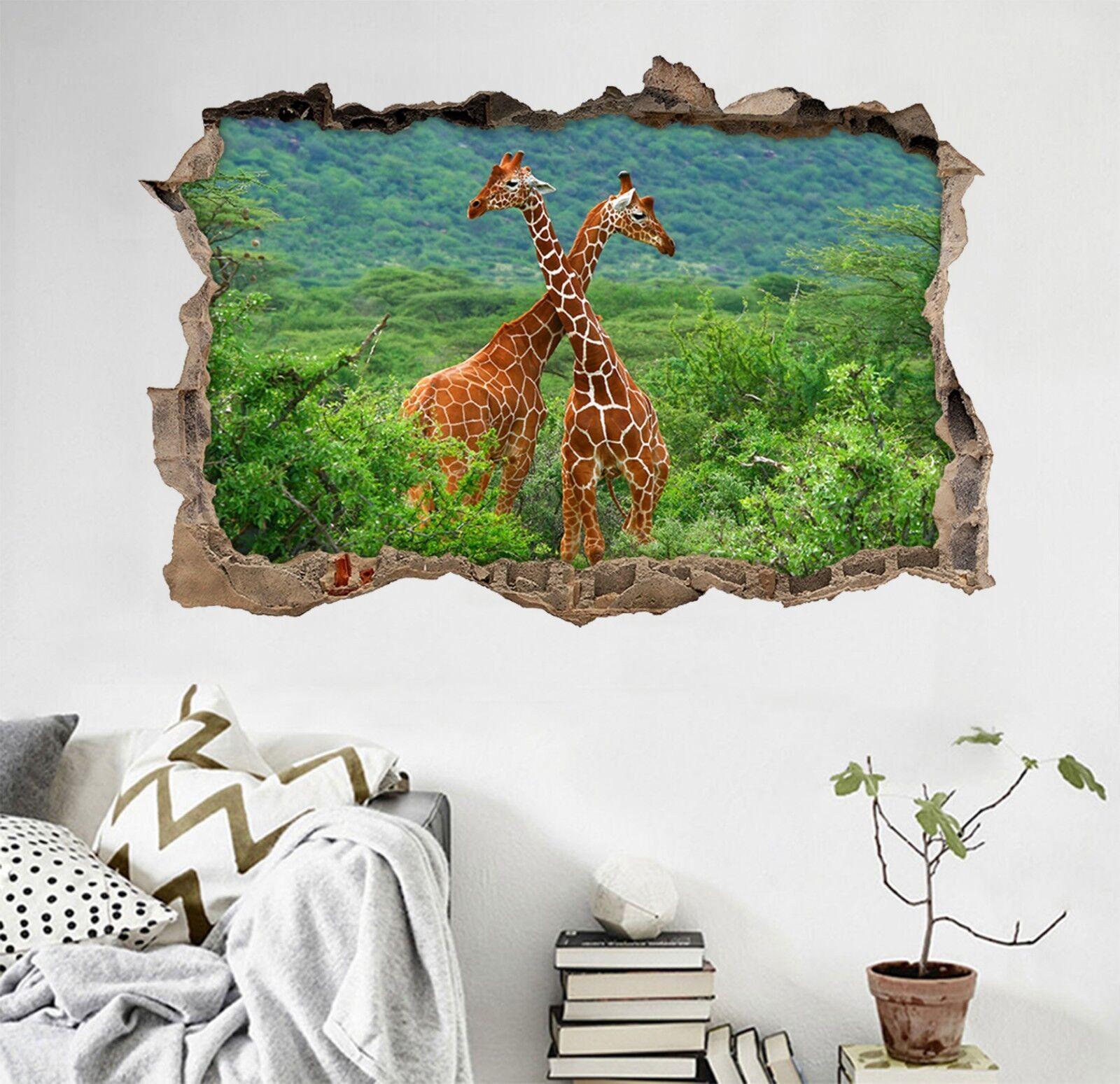 3D Große Giraffen 3 Mauer Murals Mauer Aufklebe Decal Durchbruch AJ WALLPAPER DE