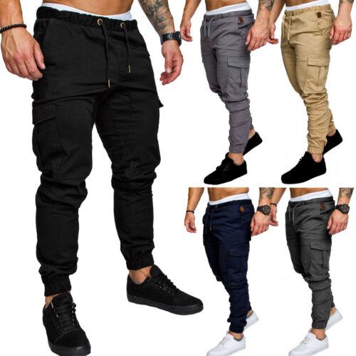 Hot Men Slim Fit Urban Straight Leg Trouser Casual Pencil Jogger Cargo Long Pant