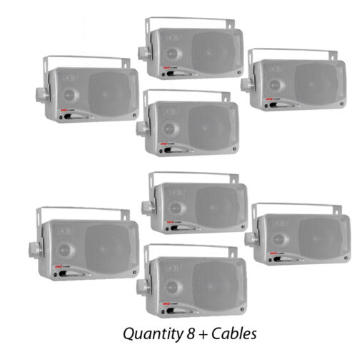"NEW Pyle PLMR24S 3.5/"" 200W 3-Way WeatherProof Mini Box Speakers Silver Lot of 8"