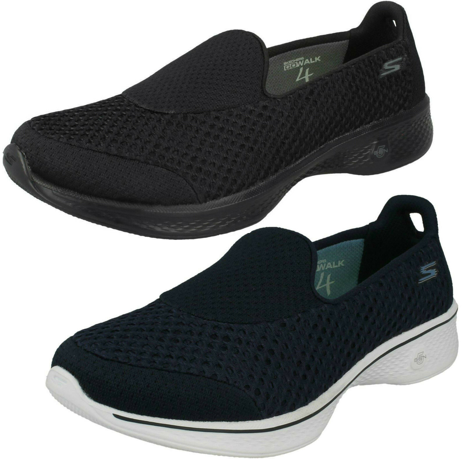 Ladies Skechers 14145 Go Walk 4 - Kindle Black Or Navy Slip On Trainers