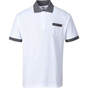 Portwest Ks51 Peintres Tradesman Craft Polo Shirt-blanc & Gris Contraste-afficher Le Titre D'origine