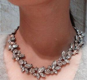 Fashion-Charm-Jewelry-Pendant-Clear-Crystal-Choker-Chunky-Statement-Bib-Necklace