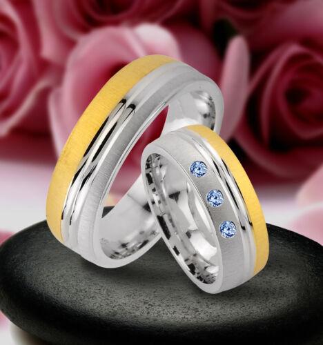 J172-3B Trauringe  Eheringe Verlobungsringe mit echten Blautopas Silber 925