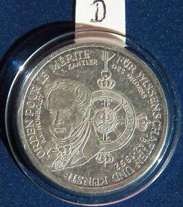 """Germany Silbergedenkmünze Deutsche Mark """"Orden Pour le Mérite-Humboldt-Kanzler""""D - Wermsdorf, Deutschland - Germany Silbergedenkmünze Deutsche Mark """"Orden Pour le Mérite-Humboldt-Kanzler""""D - Wermsdorf, Deutschland"""