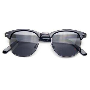 Semi-Rimless-Sunglasses-Men-039-s-Women-039-s-Half-Frame-Vintage-Designer-Metal