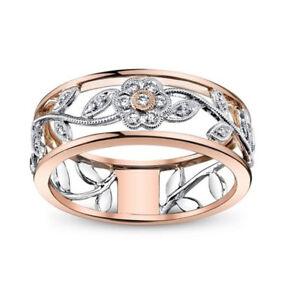 UK Womens Zircon Rose Gold Ring Flower Shaped Wedding Band Rings ... d2e5e912c2