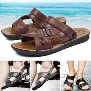 Summer-Men-039-s-Beach-Casual-Faux-Leather-Sandals-Shoes-Anti-slip-Slippers-Mules