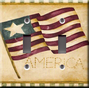 light switch plate cover usa flag theme deco country