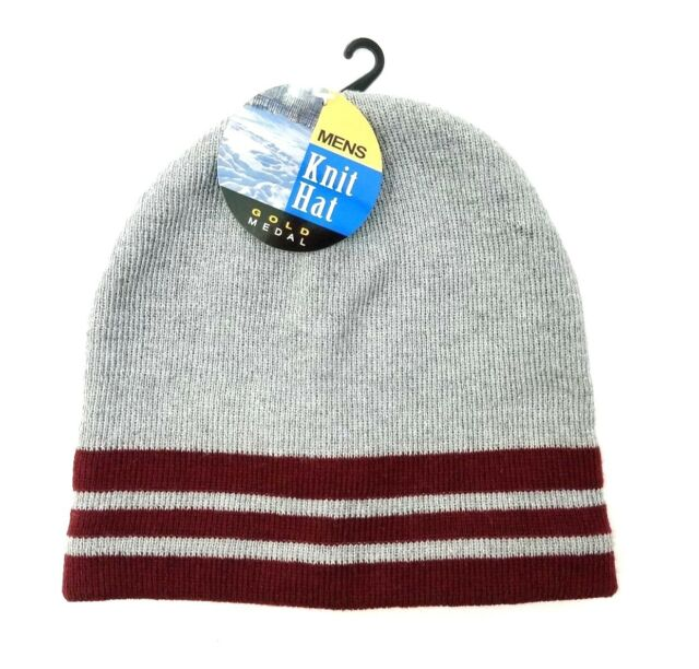 9abca3bb5 Gold Medal Mens Beanie Knit Winter Hat Cap Gray Maroon Striped With Tags