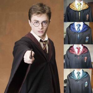 Harry-Potter-Cosplay-Cloak-Gryffindor-Slytherin-Hufflepuff-Ravenclaw-Robe-W-tie