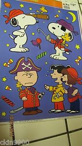 image is loading peanuts gang snoopy halloween window cling decoration reusable