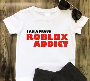 ROBLOX ADDICT Shirt XBOX PS4 GAMER Adventures Gamers Tshirt Tops Childrens Kids