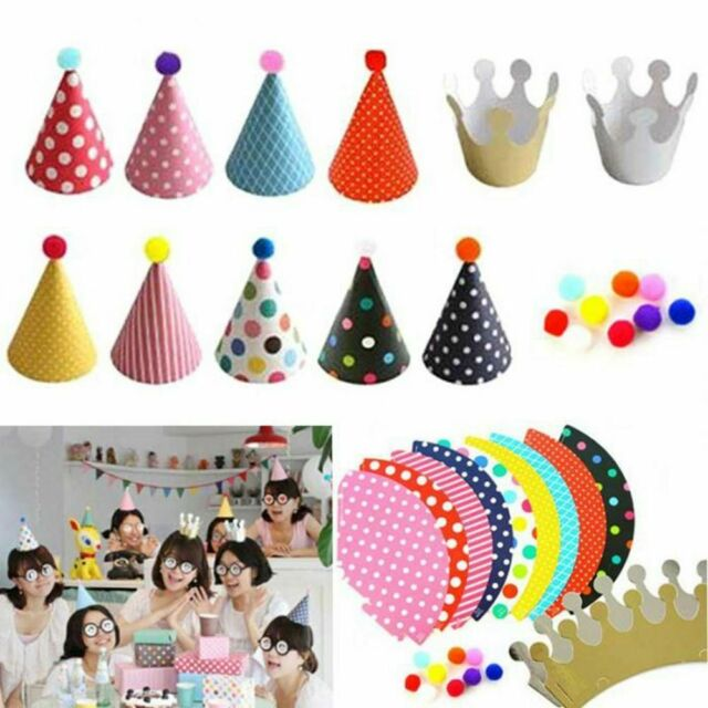 Cute Dot with Hairball Birthday Party Hats Papery Headdress Crown Cap