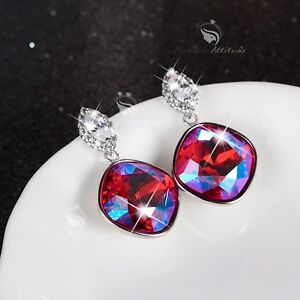 18k-white-gold-made-with-fuchsia-Swarovski-crystal-stud-dangle-drop-earrings