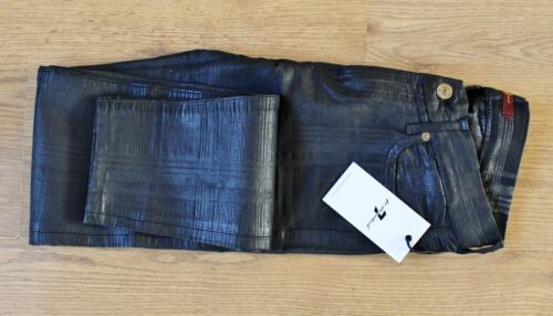 7 For All Mankind Black Check Skinny Metallic Coated Jeans Trousers W27 L30 NEW