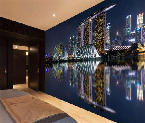 Skyscrapers Night Singapore Full Wall Mural Photo Wallpaper Print Home 3D Decal