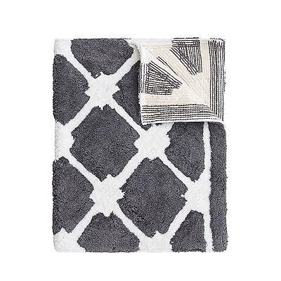 NEW Heritage Lattice Bath Mat in Steel Grey/White Grey