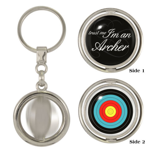 Trust Me I/'m An Archer /& Target Spinning Keyring bowman toxophilite arrows NEW
