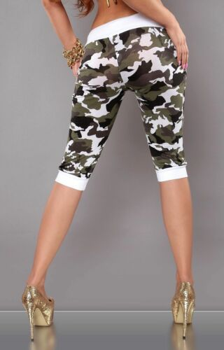 Ladies Cropped Pants Army Print Sport Trousers Running Fitness Gym Camouflage