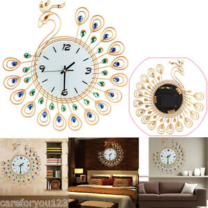 Image Is Loading Luxury Diamond Peacock Large Wall Clocks Metal Living