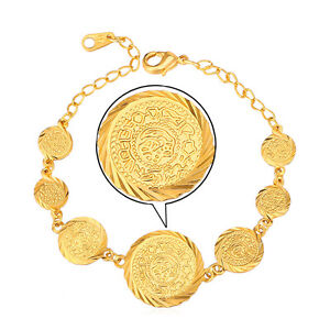 18KGP Stamp Real Gold Plated Womens Jewelry Antique Coin Beads