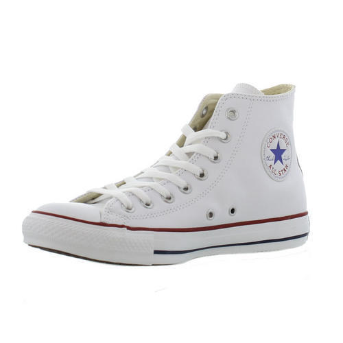 Converse All Star Hi Top White Shoes Leather Mens Womens Trainers Shoes White Size 3-13 d7496d