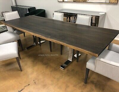 New 112 Modern Live Edge Dining Table Natural Solid Oak Slab Top Silver Steel Ebay