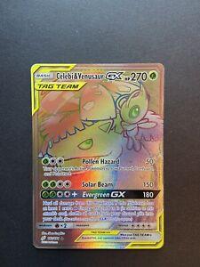 New Listing Pokemon Team Up Celebi & Venusaur GX 182/181 Secret Rainbow Rare FRESH PULL