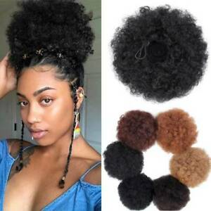 Afro-Hair-Bun-Natural-Synthetic-Kinky-Curly-Ponytail-Puff-Drawstring-Extensions