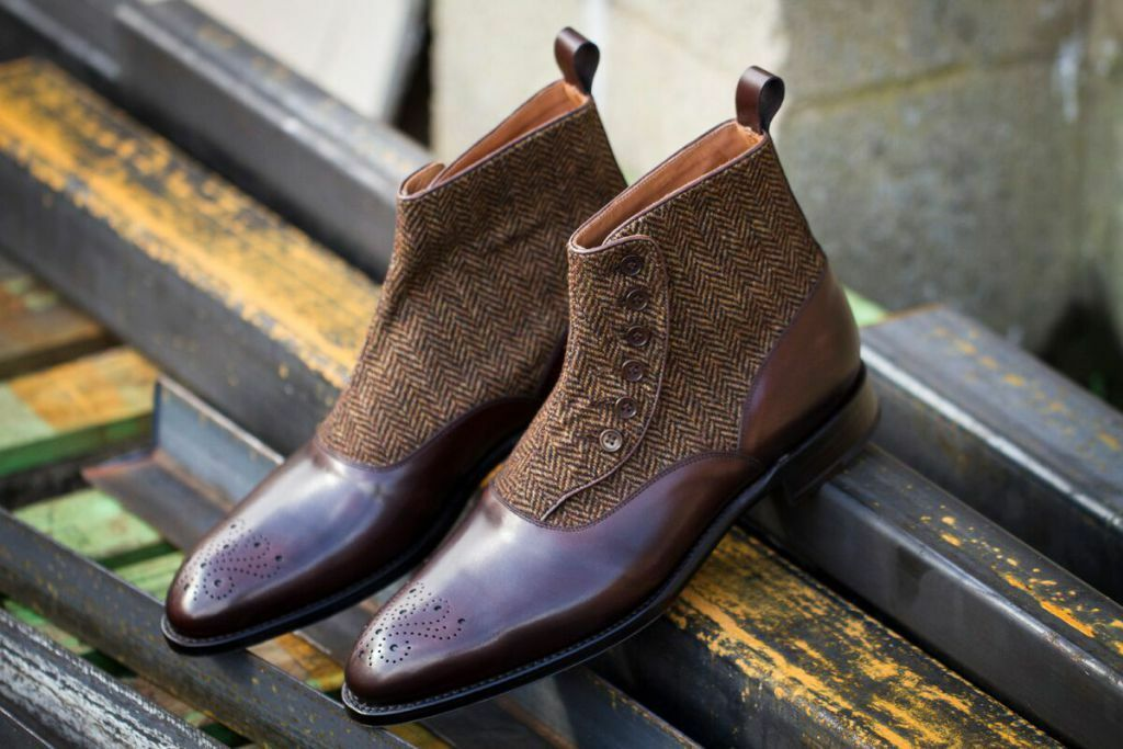 Handmade Brown Button Boots, Men Brown Formal Boot, Men Button Leather Boot